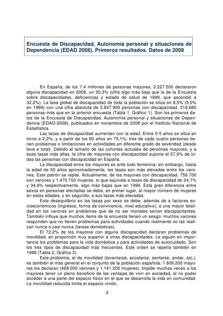 Encuesta de Discapacidad, Autonomía personal y situaciones de Dependencia (EDAD 2008). Primeros resultados. Datos de 2008 ...