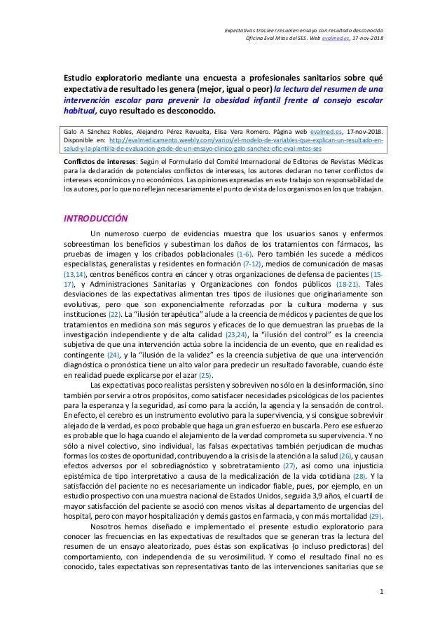 Expectativas tras leer resumen ensayo con resultado desconocido Oficina Eval Mtos del SES. Web evalmed.es, 17-nov-2018 1 E...