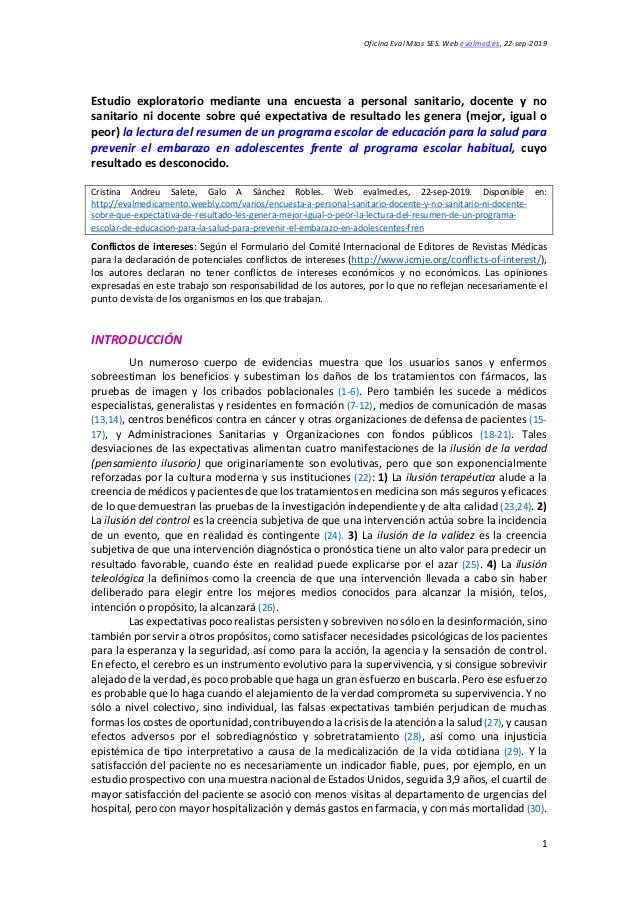 Oficina Eval Mtos SES. Web evalmed.es, 22-sep-2019 1 Estudio exploratorio mediante una encuesta a personal sanitario, doce...