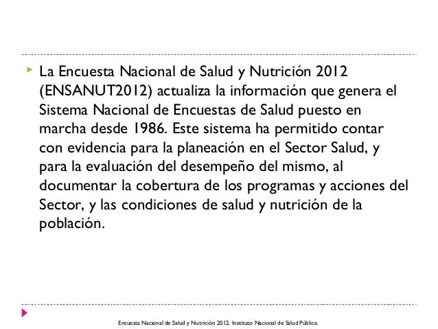 Encuesta nacional de salud y nutrición 2012