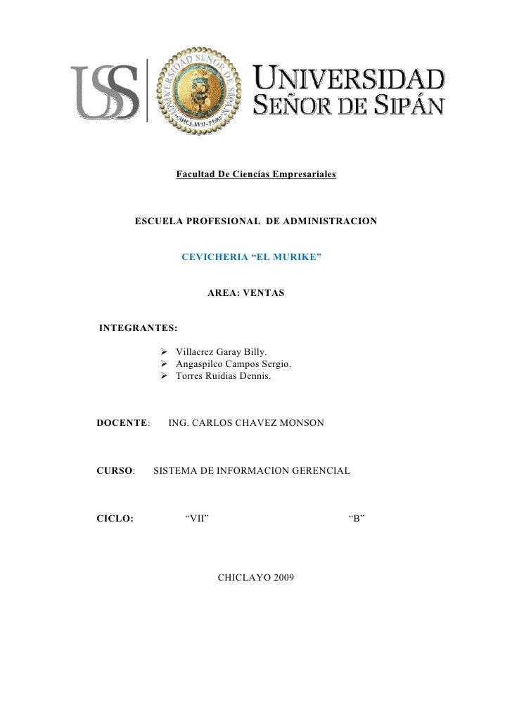 """Facultad De Ciencias Empresariales             ESCUELA PROFESIONAL DE ADMINISTRACION                   CEVICHERIA """"EL MURI..."""