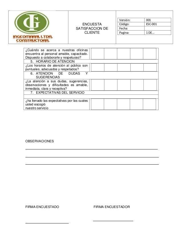 Encuesta satisfaccion de cliente - Oficinas de atencion a la ciudadania linea madrid ...