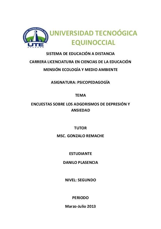 SISTEMA DE EDUCACIÓN A DISTANCIACARRERA LICENCIATURA EN CIENCIAS DE LA EDUCACIÓNMENSIÓN ECOLOGÍA Y MEDIO AMBIENTEASIGNATUR...
