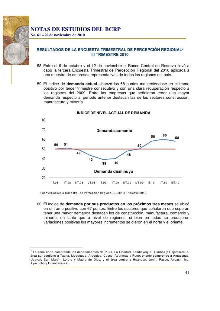 NOTAS DE ESTUDIOS DEL BCRPNo. 61 – 29 de noviembre de 2010    RESULTADOS DE LA ENCUESTA TRIMESTRAL DE PERCEPCIÓN REGIONAL2...