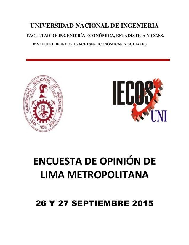 UNIVERSIDAD NACIONAL DE INGENIERIA FACULTAD DE INGENIERÍA ECONÓMICA, ESTADÍSTICA Y CC.SS. INSTITUTO DE INVESTIGACIONES ECO...