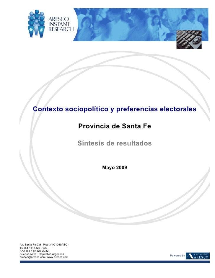 Contexto sociopolítico y preferencias electorales                                         Provincia de Santa Fe           ...