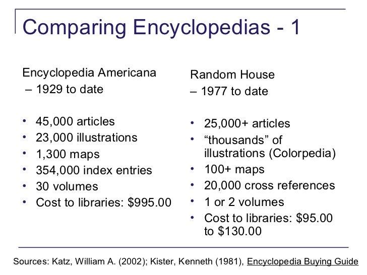 a comparison of encyclopedia americana and encyclopedia britannica