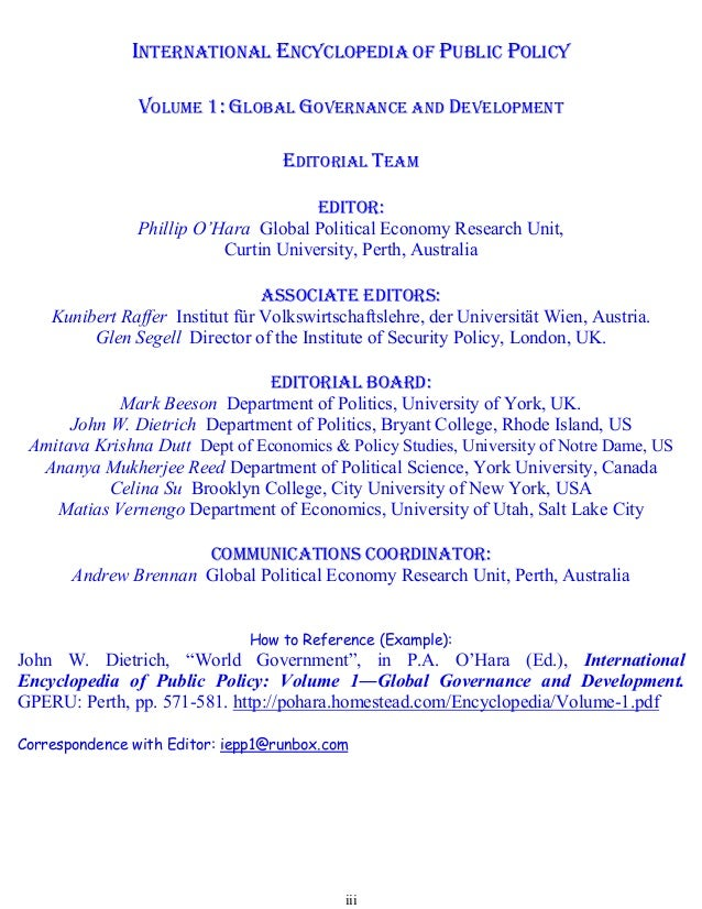 International Encyclopedia Of Public Policy