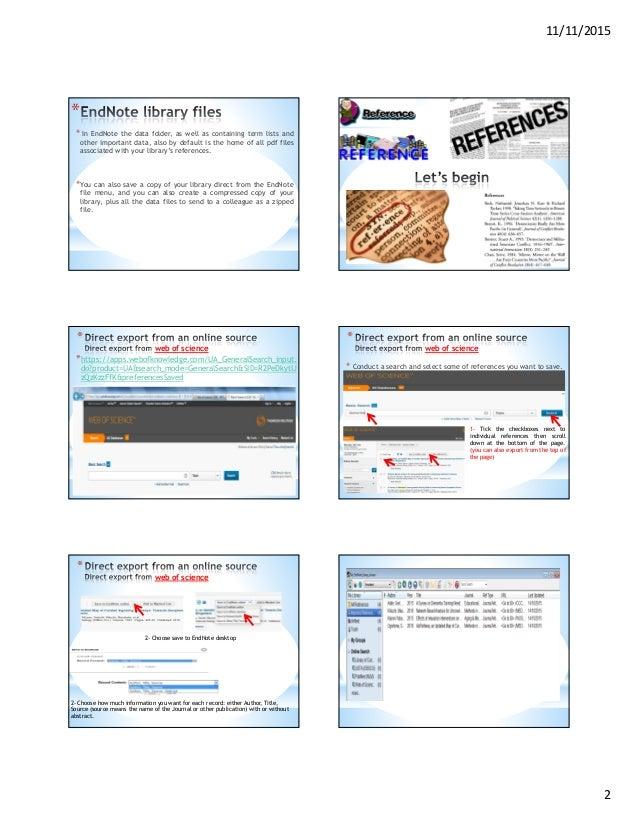 مقدمه في استخدام برنامج Endnote Slide 2