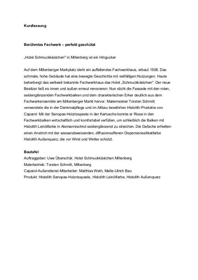 """KurzfassungBerühmtes Fachwerk – perfekt geschützt""""Hotel Schmuckkästchen"""" in Miltenberg ist ein HinguckerAuf dem Miltenberg..."""