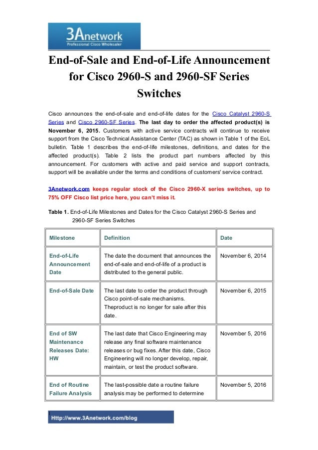 End of-sale and end-of-life announcement for cisco 2960-s and 2960-sf…