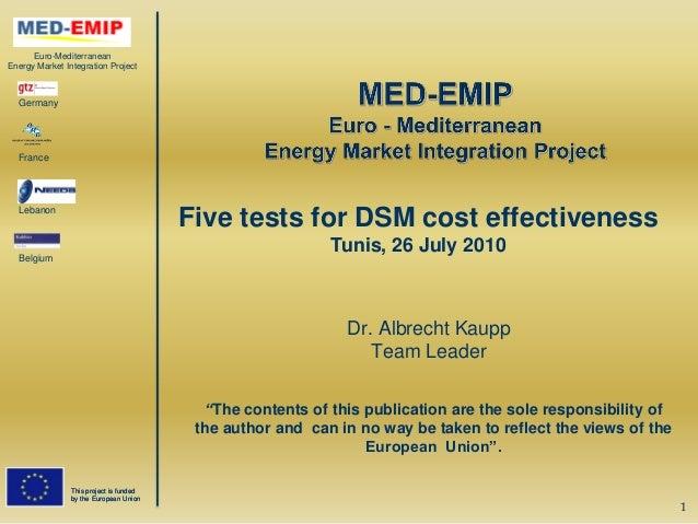 Euro-MediterraneanEnergy Market Integration Project  Germany  France  Lebanon                                         Five...