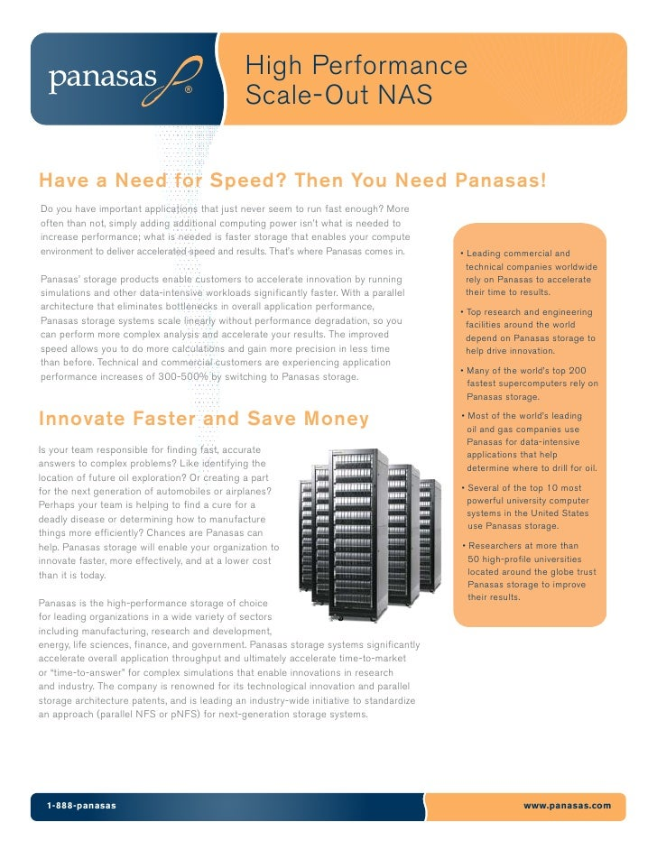 High Performance                                                Scale-Out NAS  Have a Need for Speed? Then You Need Panasa...