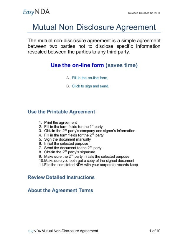 Revised October 12, 2014 Mutual Non Disclosure Agreement The Mutual Non Disclosure  Agreement Is ...  Free Printable Non Disclosure Agreement