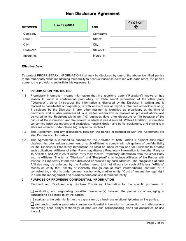 Easynda Mutual Non Disclosure Agreement PrintableV