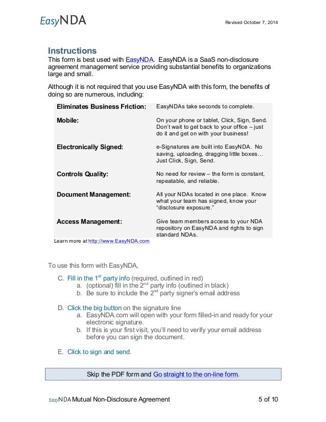 Use EasyNDA Print Form; 5.  Mutual Agreement Contract Template