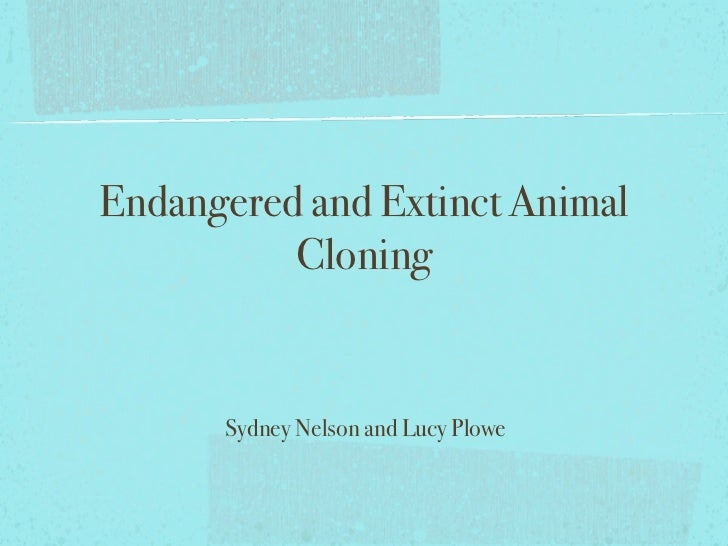 Endangered and Extinct Animal          Cloning      Sydney Nelson and Lucy Plowe