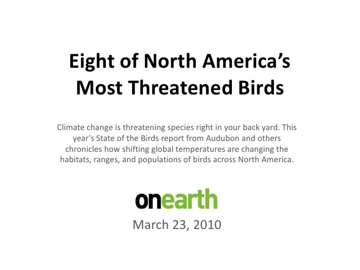 Eight of North America'sMost Threatened Birds<br />Climate change is threatening species right in your back yard. This yea...