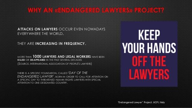 """Avvocati minacciati - Endangered lawyers"" Slide 2"