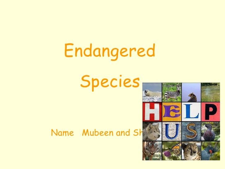 Endangered Species Name  Mubeen and Shaneel
