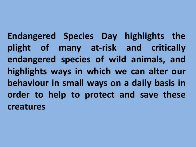 ways to help endangered species essay Here are 10 ways you can help  top 10 ways to save wildlife by  by not purchasing products made from endangered animals or their parts, you can stop wildlife.