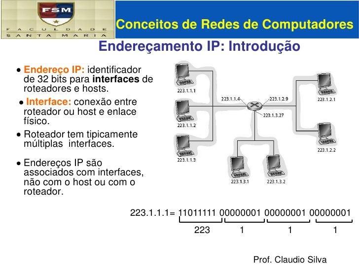 Conceitos de Redes de Computadores<br />Endereçamento IP: Introdução<br /><ul><li>Endereço IP: identificador de 32 bits pa...