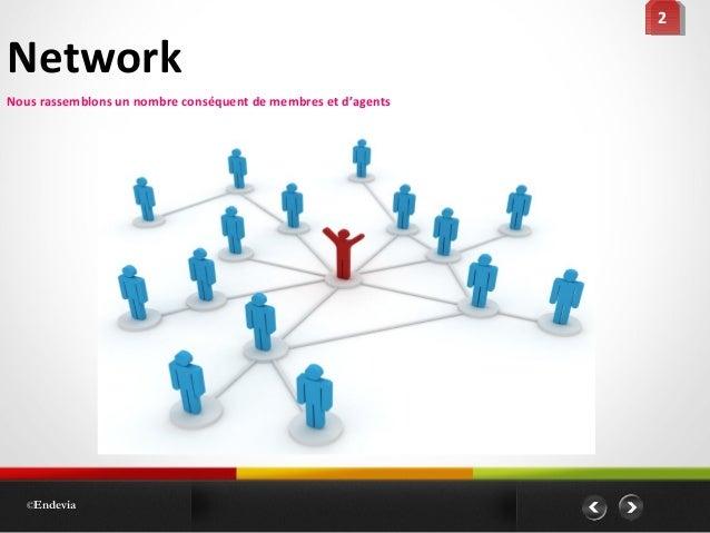 Network ©Endevia 22 Nous rassemblons un nombre conséquent de membres et d'agents
