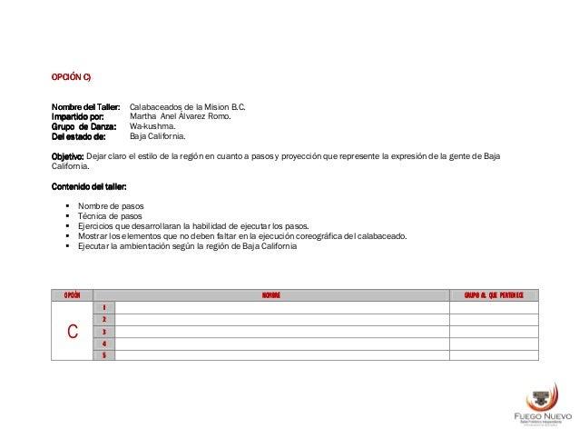 OPCIÓNOPCIÓNOPCIÓNOPCIÓN DDDD)))) Nombre del Taller:Nombre del Taller:Nombre del Taller:Nombre del Taller: Tamaulipas Nort...