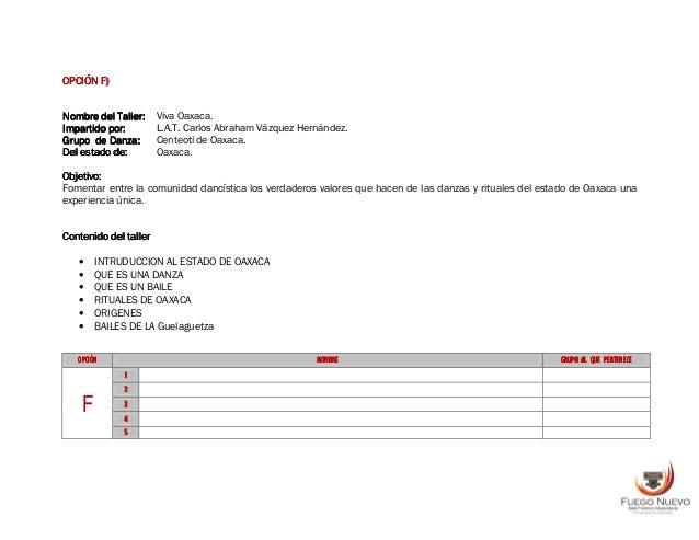 OPCIÓNOPCIÓNOPCIÓNOPCIÓN GGGG)))) Nombre del Taller:Nombre del Taller:Nombre del Taller:Nombre del Taller: Nuevo León, Reg...