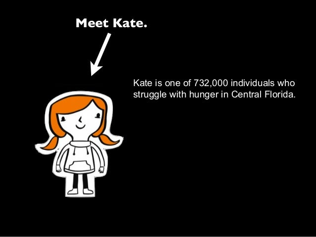 Meet Kate. Kate is one of 732,000 individuals who struggle with hunger in Central Florida.