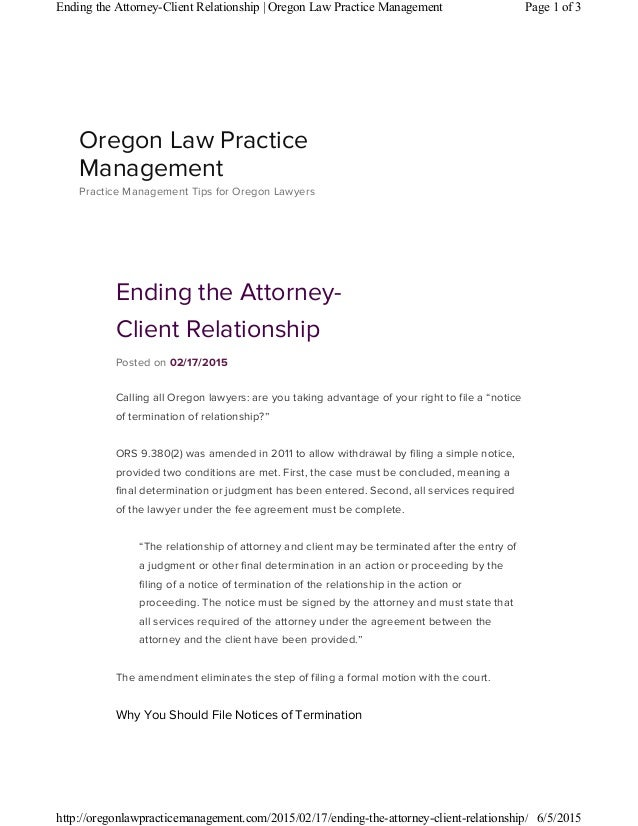 Ending The Attorney Client Relationship
