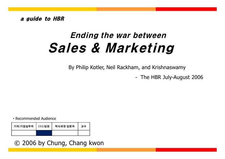 a guide to HBR                              Ending the war between                  Sales & Marketing                     ...