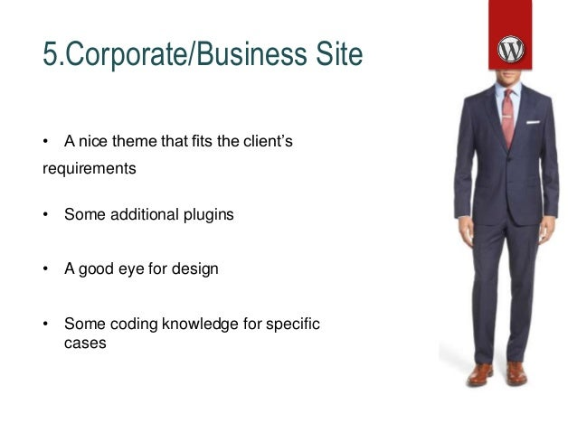 5.Corporate/Business Site • A nice theme that fits the client's requirements • Some additional plugins • A good eye for de...