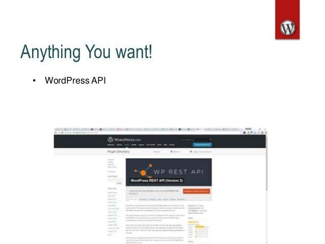 Anything You want! • WordPress API