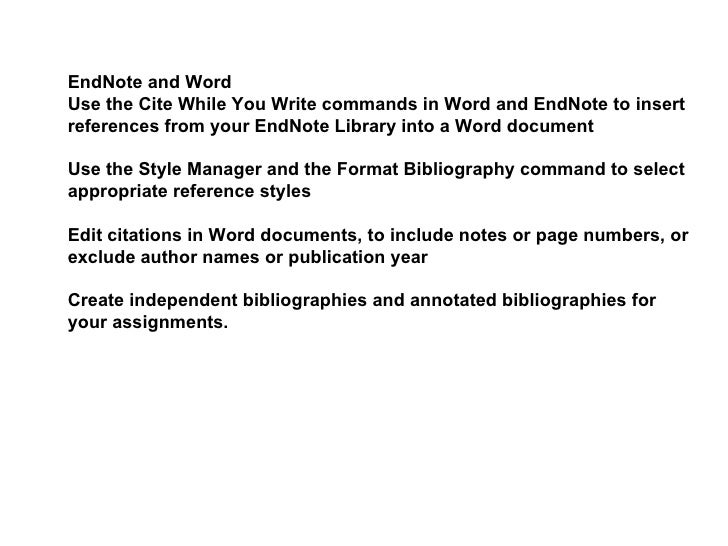 endnote annotated bibliography