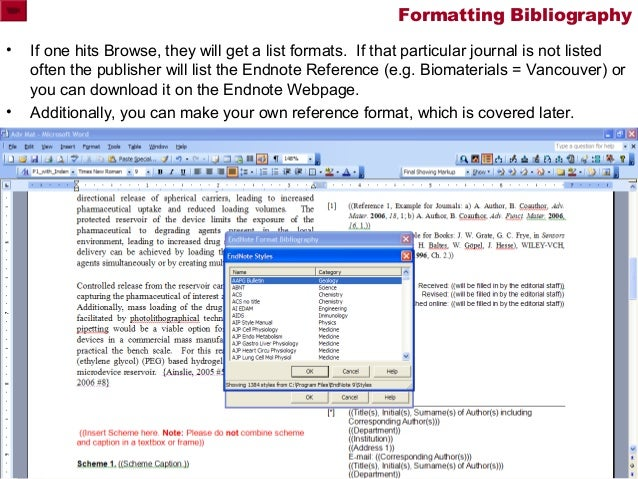 endnote how to turn bibliography into text