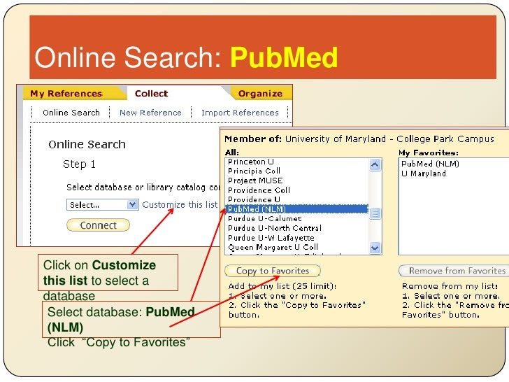 Online Search: PubMed<br />Click on Customize this list to select a database<br />Select database: PubMed (NLM)<br />Clic...