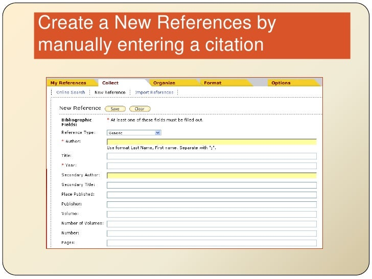 Create a New References by manually entering a citation<br />