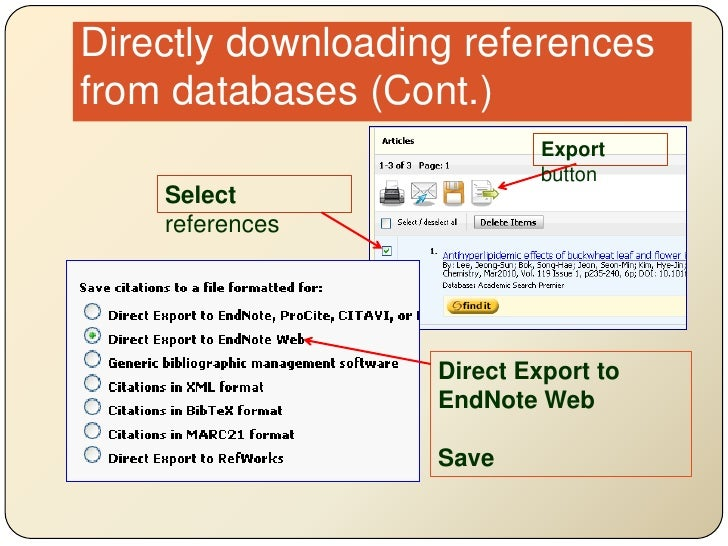 Directly downloading references from databases (Cont.)<br />Export button<br />Select references<br />Direct Export to End...