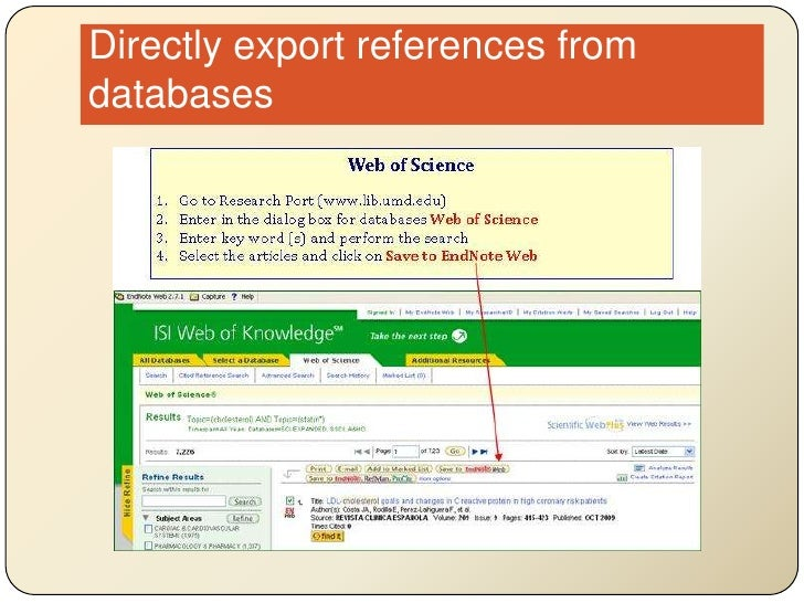 Directly export references from databases<br />