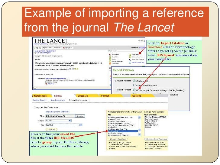 Example of importing a reference from the journal The Lancet<br />