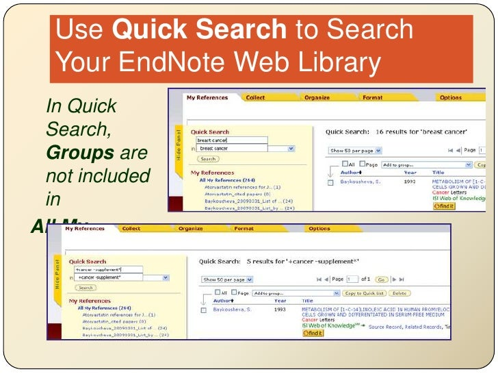 Use Quick Search to Search Your EndNote Web Library<br />In Quick Search, Groups are not included in <br />All My Referen...