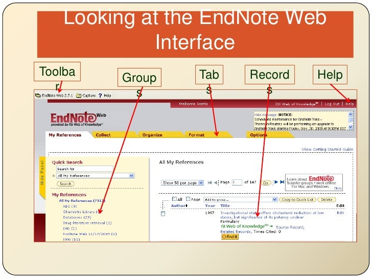 Looking at the EndNote Web Interface<br />Toolbar<br />Tabs<br />Help<br />Records<br />Groups<br />