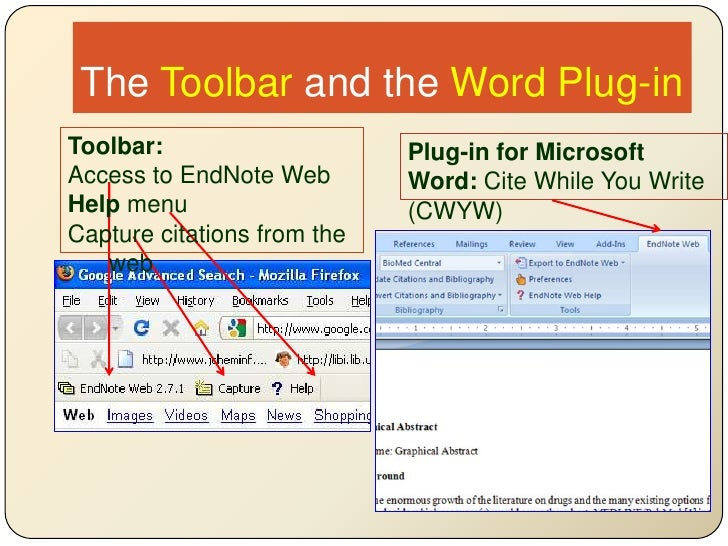 The Toolbar and the Word Plug-in<br />Toolbar:<br />Access to EndNote Web<br />Help menu<br />Capture citations from the w...