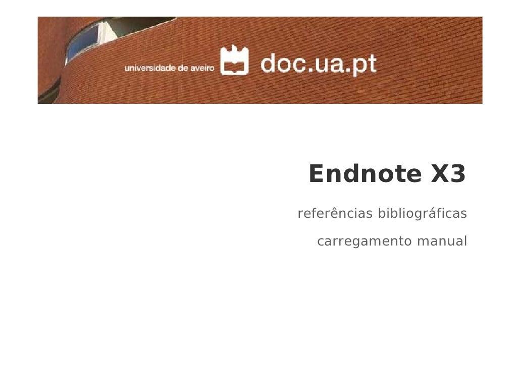 Endnote X3 referências bibliográficas    carregamento manual