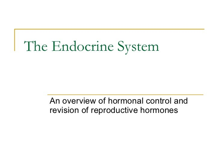 The Endocrine System An overview of hormonal control and revision of reproductive hormones
