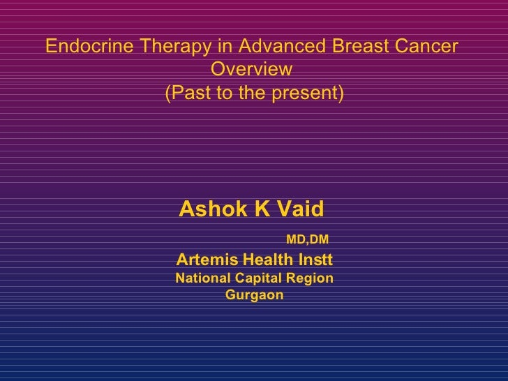 Ashok K Vaid     MD,DM Artemis Health Instt National Capital Region Gurgaon Endocrine Therapy in Advanced Breast Cancer  O...