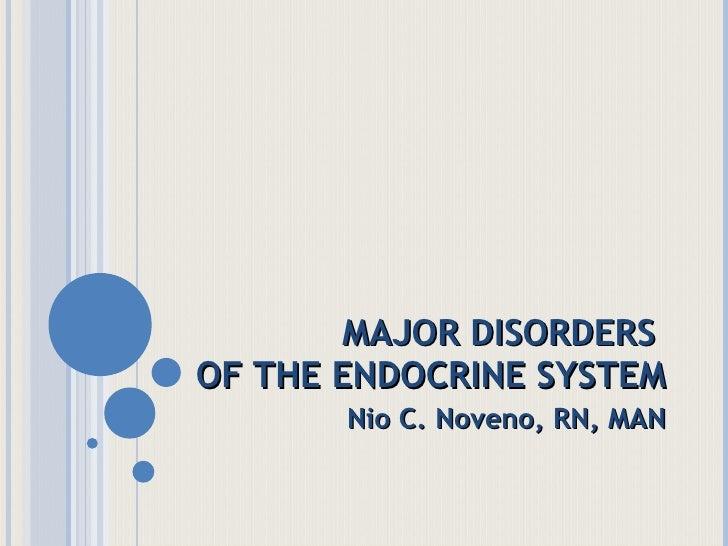 MAJOR DISORDERS  OF THE ENDOCRINE SYSTEM Nio C. Noveno, RN, MAN