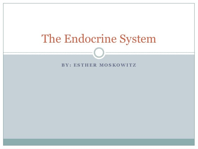 B Y : E S T H E R M O S K O W I T Z The Endocrine System