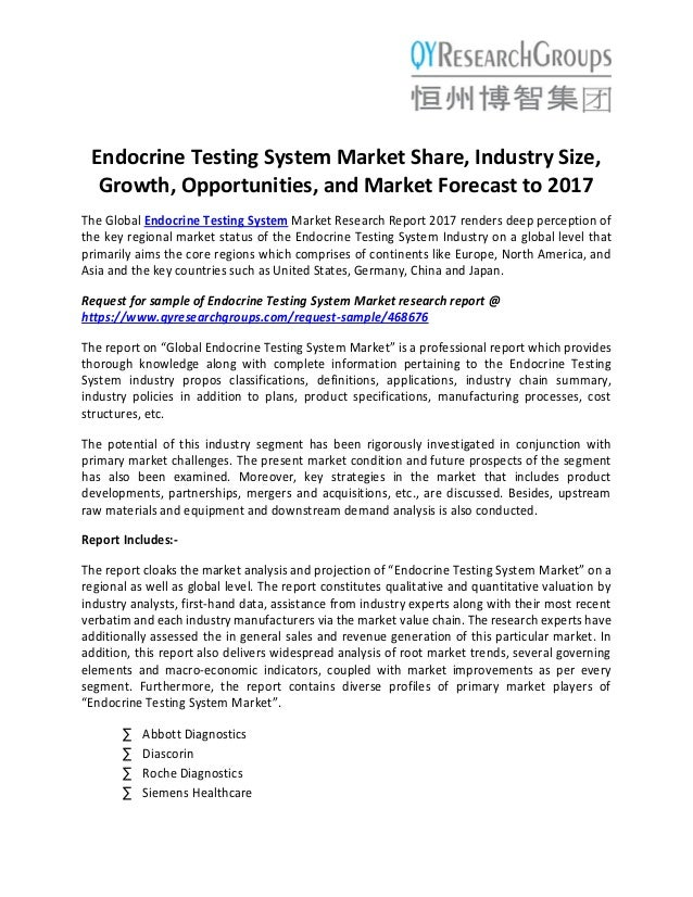 Endocrine Testing System Market share, industry size, growth
